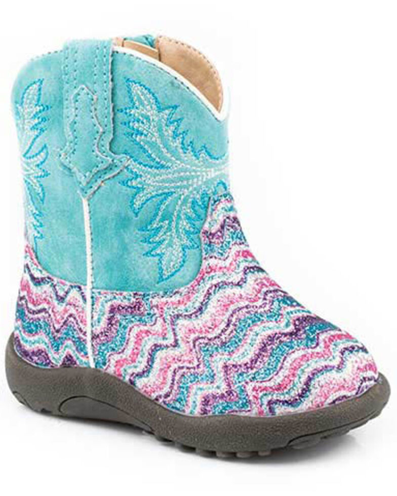 Roper Infant Girls' Glitter Aztec Boots - Wide Square Toe, Multi, hi-res