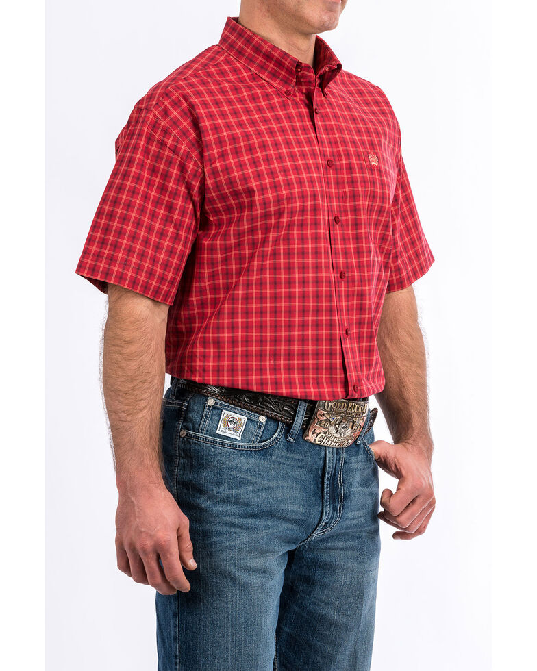 Cinch Men's Red Plaid Short Sleeve Western Shirt, Red, hi-res
