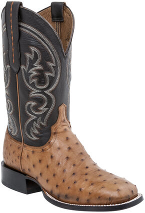 Lucchese Men's Handmade Josh Full Quill Ostrich Horseman Boots - Square Toe, Tan, hi-res
