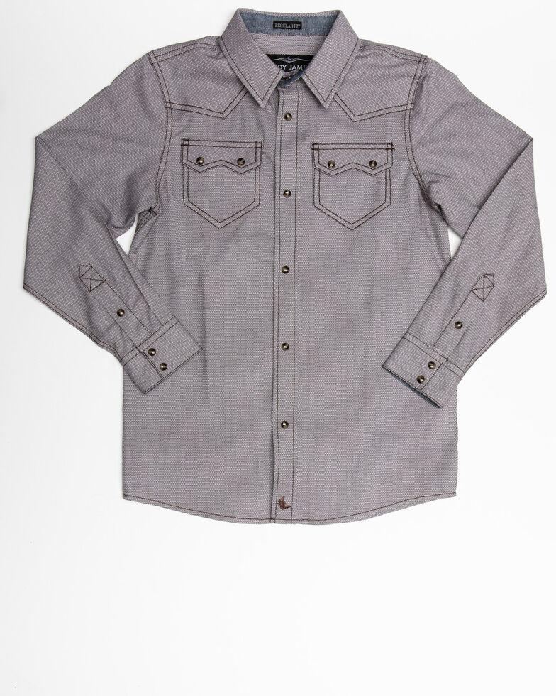 Cody James Boys' Two Step Geo Print Long Sleeve Western Shirt , Brown, hi-res