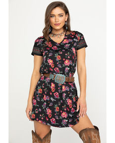 Studio West Women's Floral Woven Dress, Black, hi-res