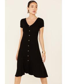 HYFVE Women's Button Front Midi Dress, Black, hi-res