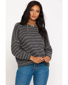 Rag Poets Women's Lurex Stripe Pullover Sweater , Charcoal, hi-res