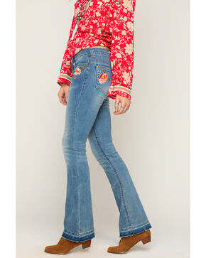 Shyanne Women's Floral Embroidered Jeans - Boot Cut, Blue, hi-res