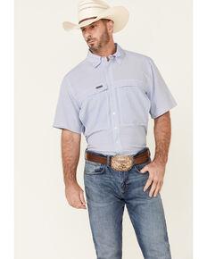 Panhandle Men's Light Blue Performance Geo Print Short Sleeve Button-Down Western Shirt , Blue, hi-res
