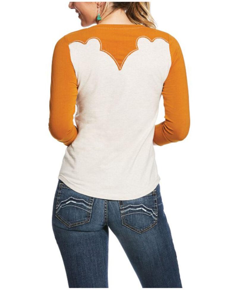 Ariat Women's Cathay Spice Broncos & Bucks Graphic Western Raglan Tee, Ivory, hi-res