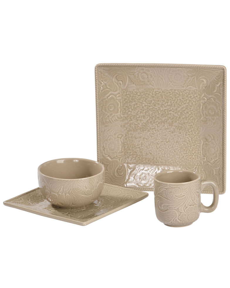 HiEnd Accents Savannah Taupe 16 Piece Dinnerware Set, Taupe, hi-res