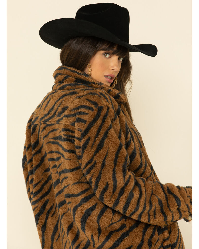 PJ Salvage Women's Sherpa Shacket , Multi, hi-res