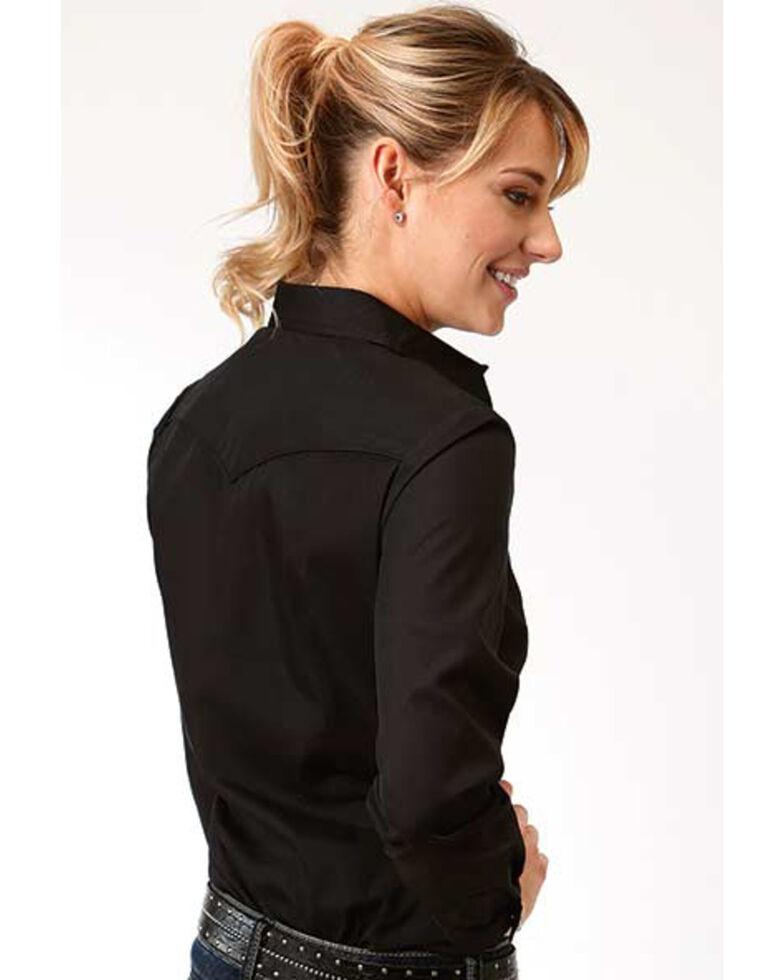 Karman Women's Black Cactus Embroidered Long Sleeve Western Shirt, Black, hi-res
