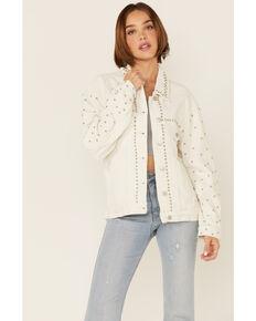 POL Women's White Corduroy Studded Shirt Jacket, White, hi-res