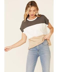 Wishlist Women's Wide Stripe Colorblock Dolman Short Sleeve Top , Charcoal, hi-res