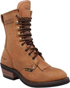 "Ad Tec Women's Tan 8"" Brown Leather Packer Boots - Soft Toe, Tan, hi-res"