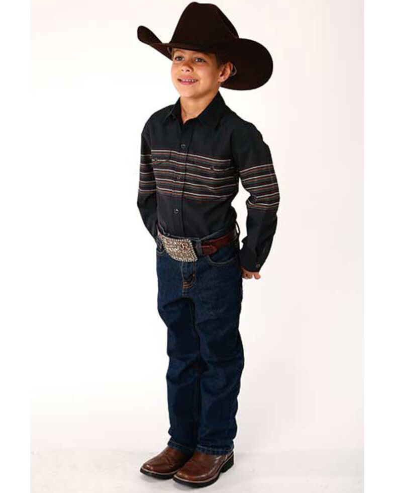 Roper Boys' Black Classic Border Stripe Print Long Sleeve Western Shirt , Black, hi-res