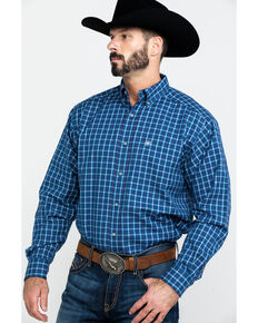 Ariat Men's Dalcin Plaid Long Sleeve Western Shirt , Navy, hi-res