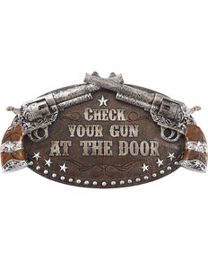 BB Ranch Check Your Gun Wall Sign, Brown, hi-res