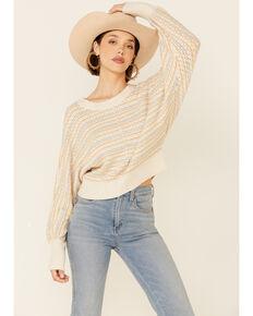 Shyanne Women's Light Yellow Dolman Stripe Pullover Sweater, Light Yellow, hi-res