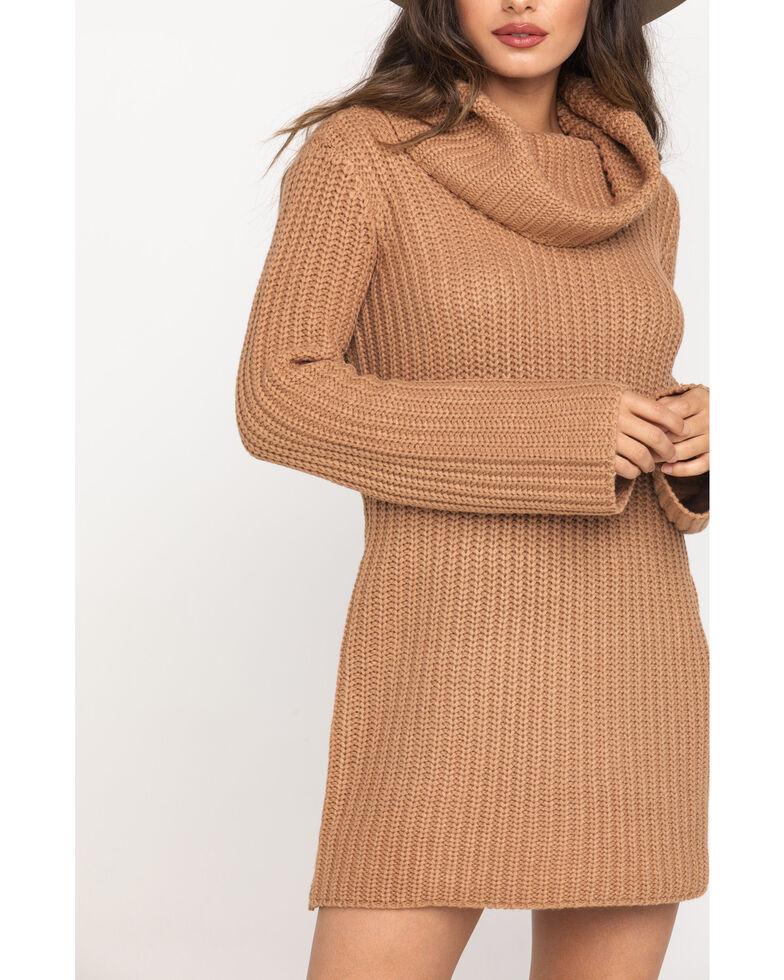 BB Dakota Women's Tan Couldn't Be Sweater Dress , Medium Brown, hi-res