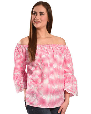 New Direction Sport Women's Embroidered Gingham Off-The-Shoulder Top, Pink, hi-res
