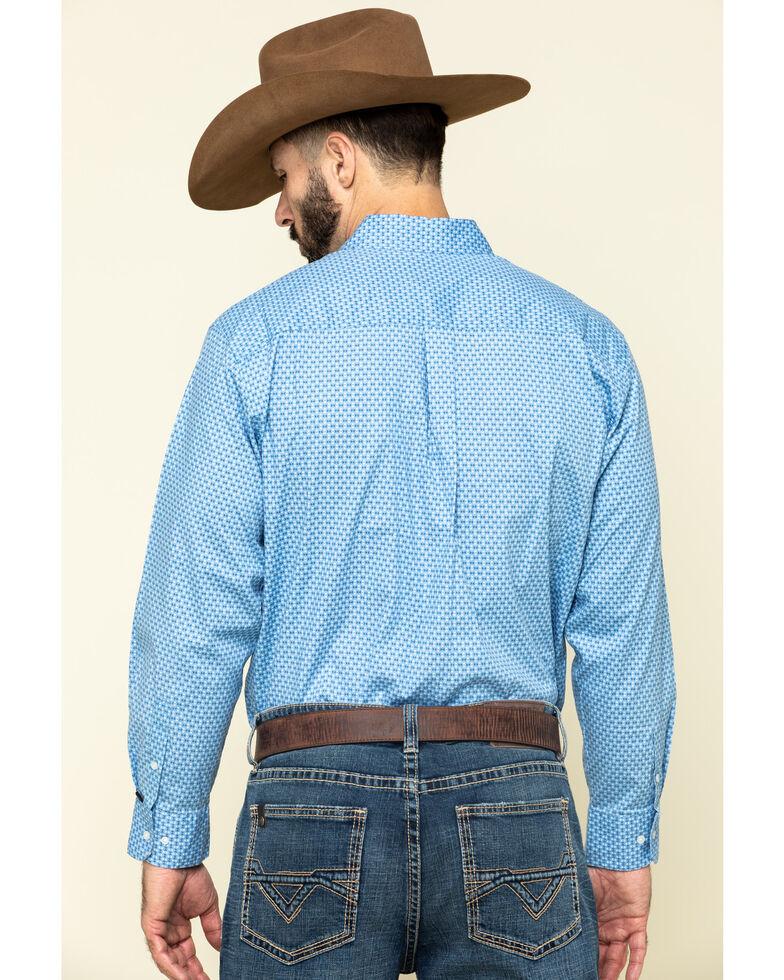 Ely Cattleman Black Label Men's Blue Geo Print Long Sleeve Western Shirt , Blue, hi-res