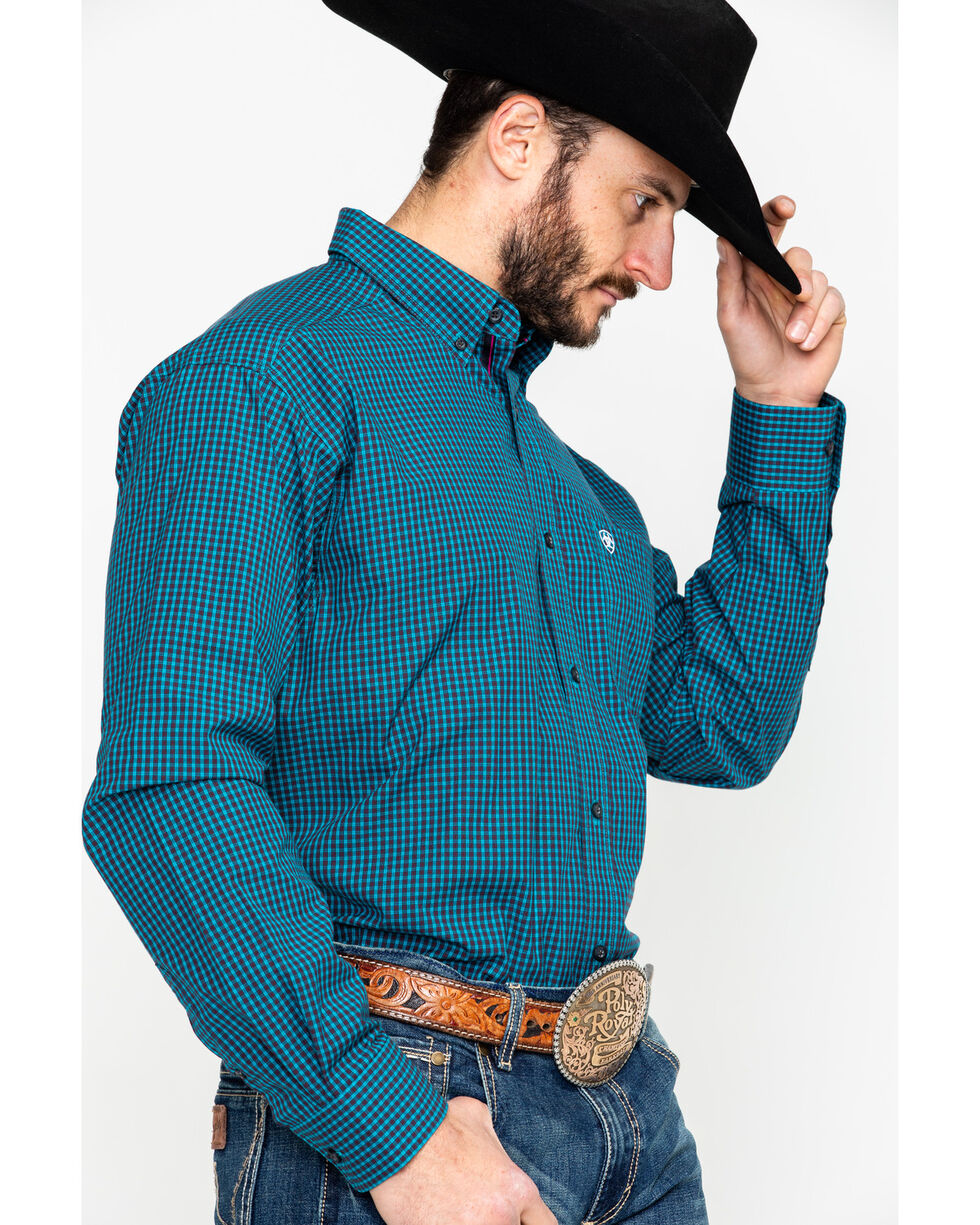 Ariat Men's Flanagan Small Plaid Long Sleeve Western Shirt , Navy, hi-res