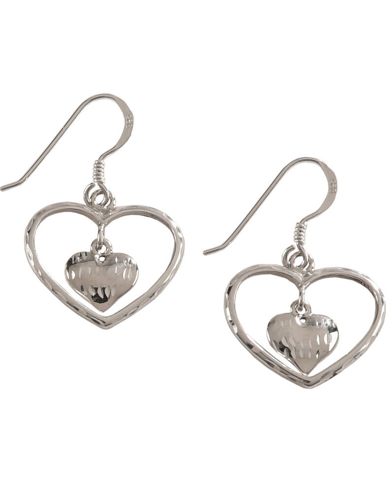 Silver Legends Women's Double Heart Diamond Cut Dangle Earrings , Silver, hi-res
