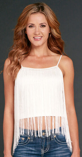 Cowgirl Up Women's White Fringe Cami, White, hi-res