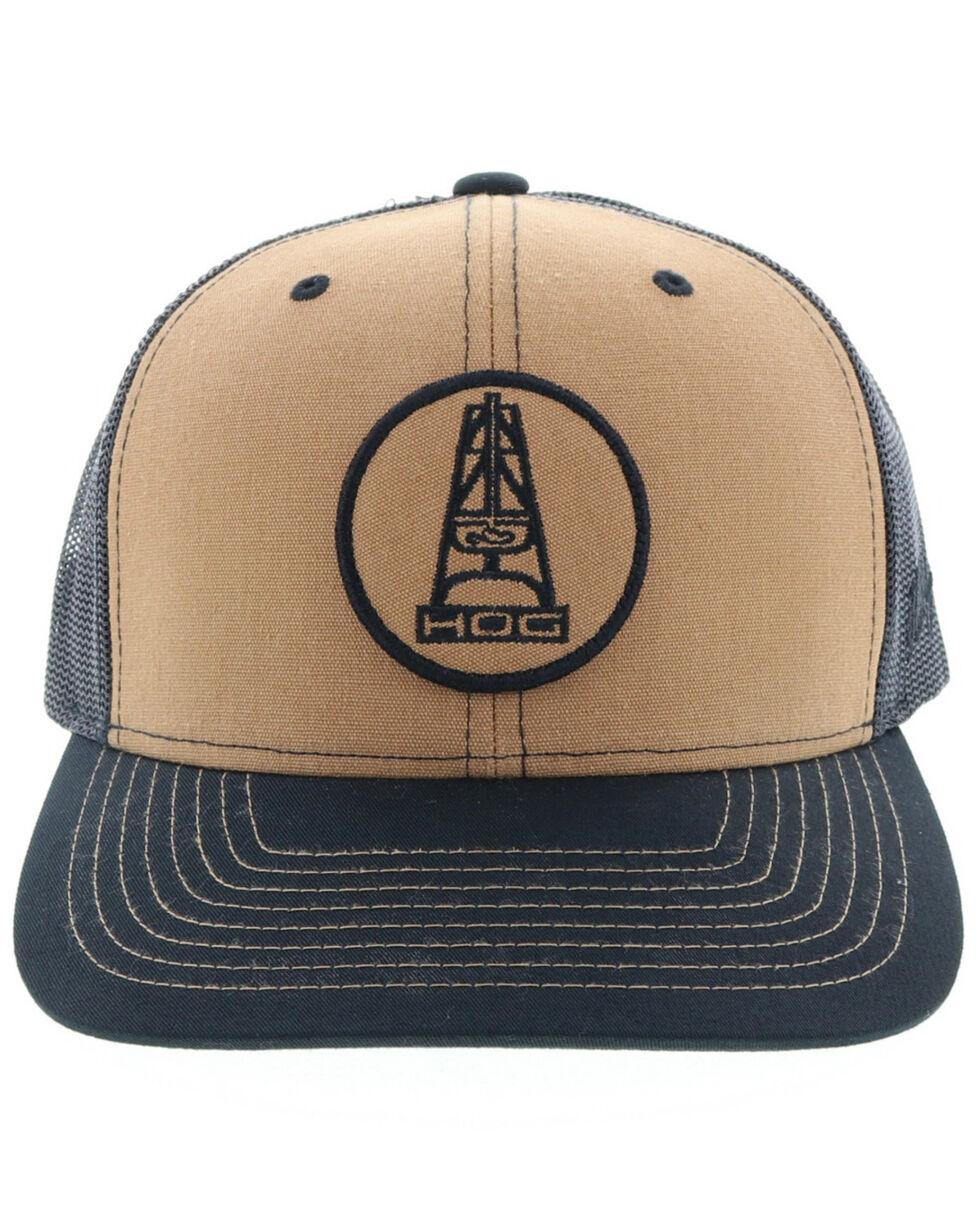 HOOey Men's Rose Oil Rig Logo Trucker Cap, Tan, hi-res