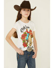 Rodeo Quincy Girls' Ride Em' Rosita Graphic Short Sleeve Tee , White, hi-res