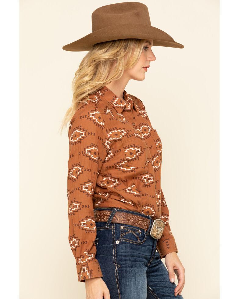 Ariat Women's Autumn Blossom R.E.A.L Billie Jean Shirt, Brown, hi-res
