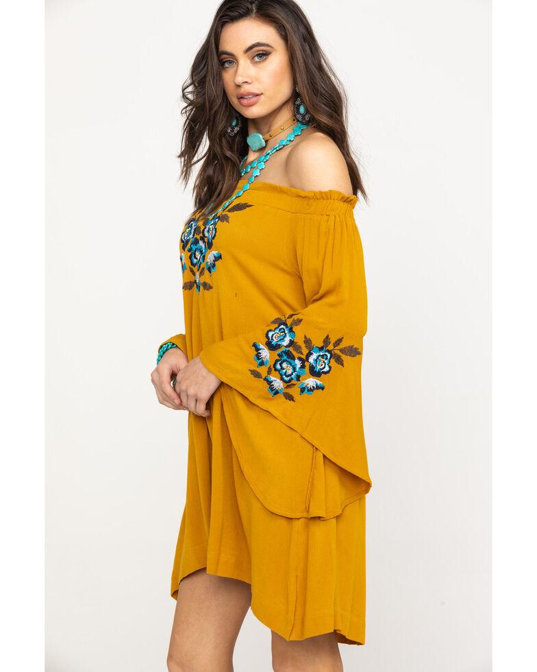 Shyanne Women's Mustard Floral Embroidered Off Shoulder Bell Sleeve Dress, Dark Yellow, hi-res