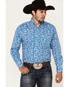 George Strait By Wrangler Men's Blue Paisley Print Long Sleeve Snap Western Shirt - Big, Blue, hi-res