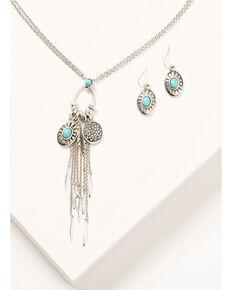 Shyanne Women's Oval Pendant & Cluster Charm Necklace Set, Silver, hi-res