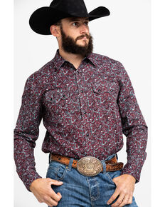 Cody James Men's Noble Paisley Print Long Sleeve Western Shirt , Grey, hi-res