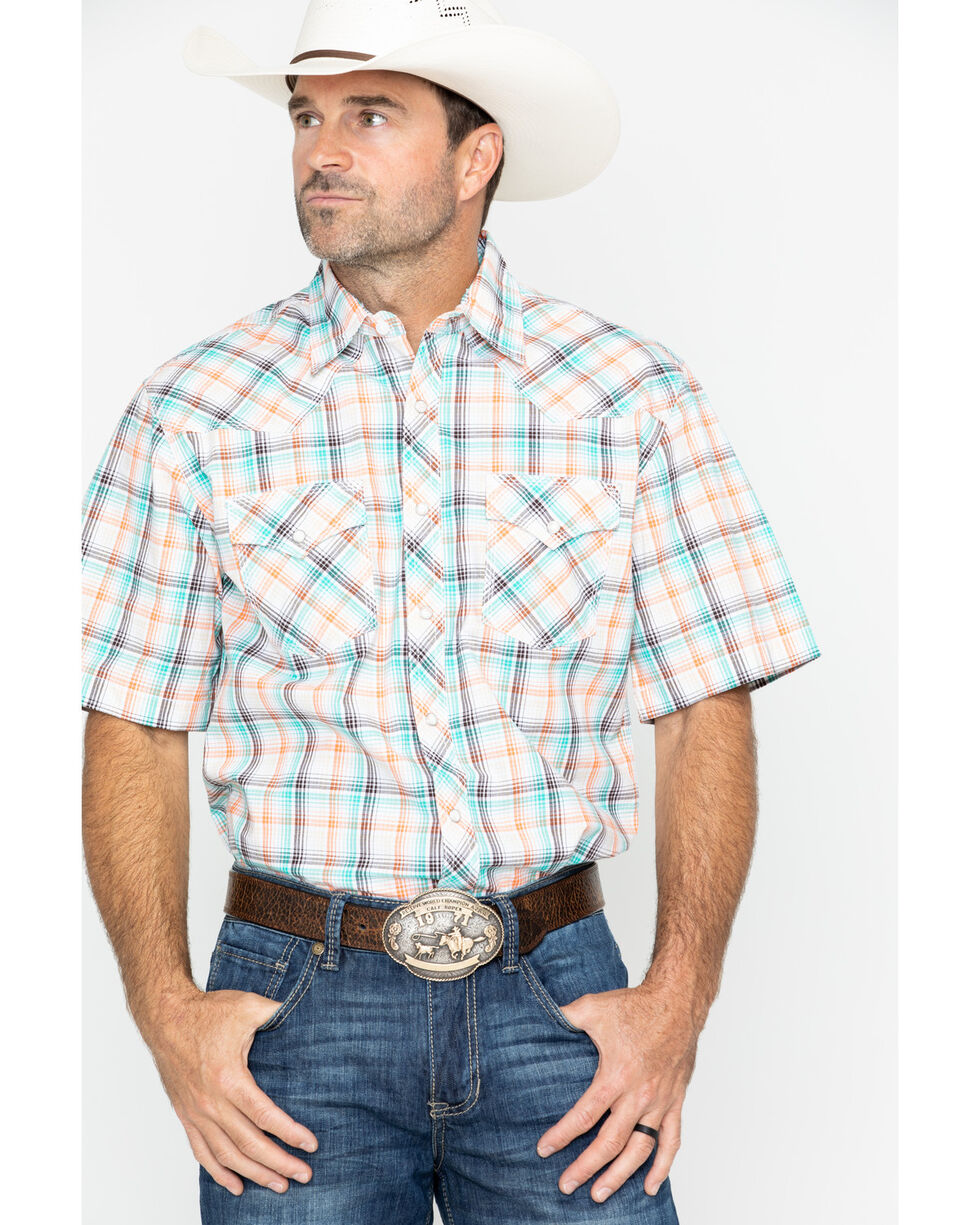 Wrangler 20X Men's Med Plaid Short Sleeve Western Shirt - Tall , Turquoise, hi-res
