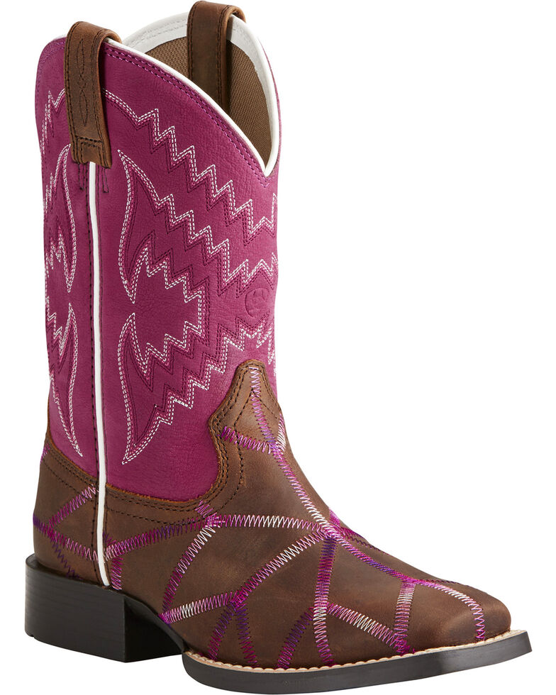 Ariat Girls' Twisted Tycoon Stitched Cowgirl Boots - Square Toe, Brown, hi-res