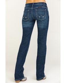 Wrangler Women's Vegas Low Rise Aztec Shiloh Bootcut Jeans, Blue, hi-res