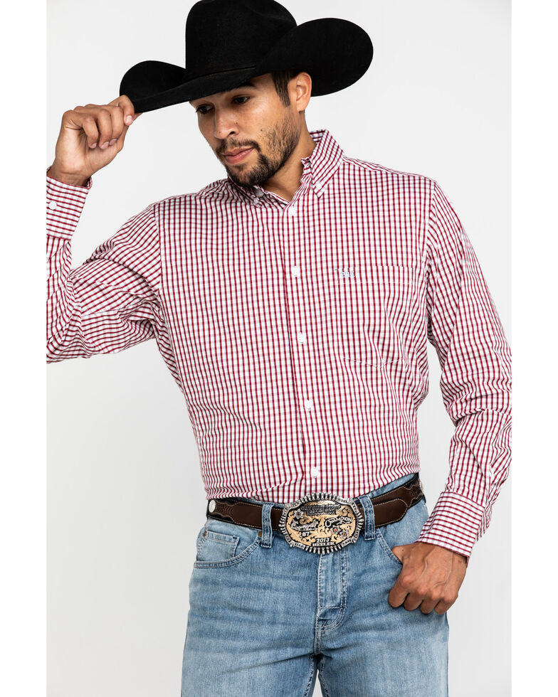 Wrangler 20X Men's Competition Red Small Plaid Long Sleeve Western Shirt , Red, hi-res