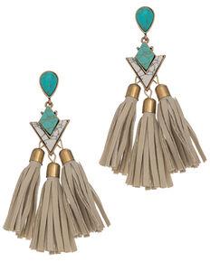 Howard's Women's Stone & Tassel Drop Earrings, Turquoise, hi-res