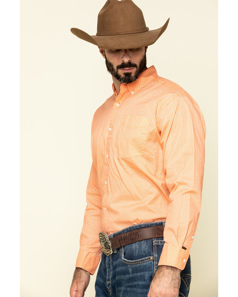 Ely Walker Men's Black Label Men's Coral Geo Print Long Sleeve Western Shirt , Coral, hi-res