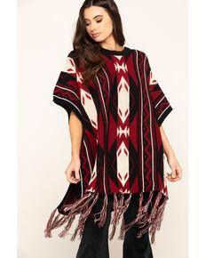San Diego Hat Co. Women's Navajo Print Poncho, Red, hi-res