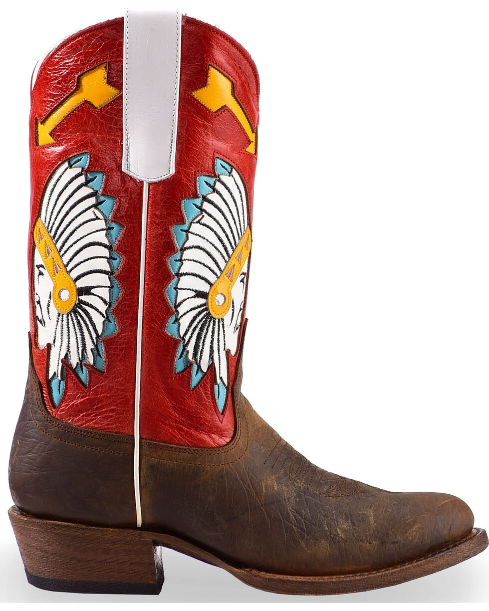 Macie Bean Youth Girls' Rodeo Red Cowgirl Boots - Round Toe, Brown, hi-res