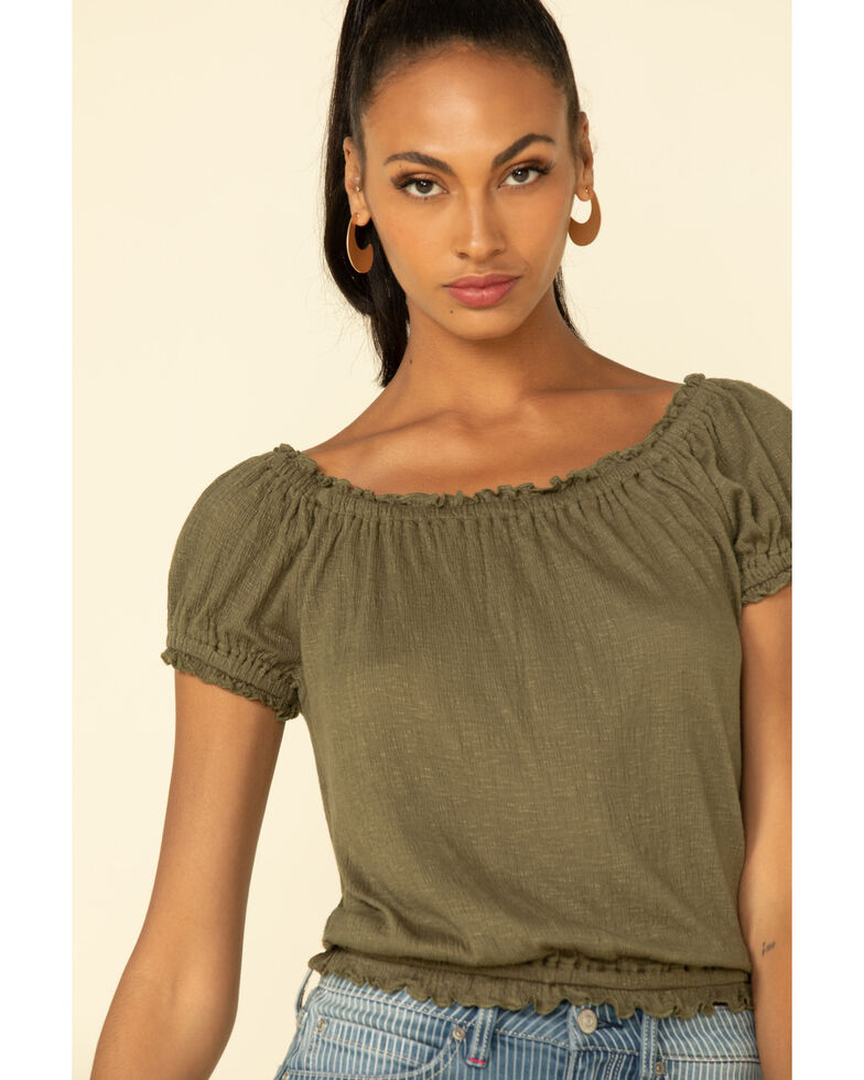 White Crow Women's Olive Off Shoulder Merced Top, Olive, hi-res