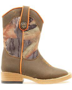 Double Barrel Toddler Boys' Buckshot Side Zipper Cowboy Boots - Square Toe, Camouflage, hi-res