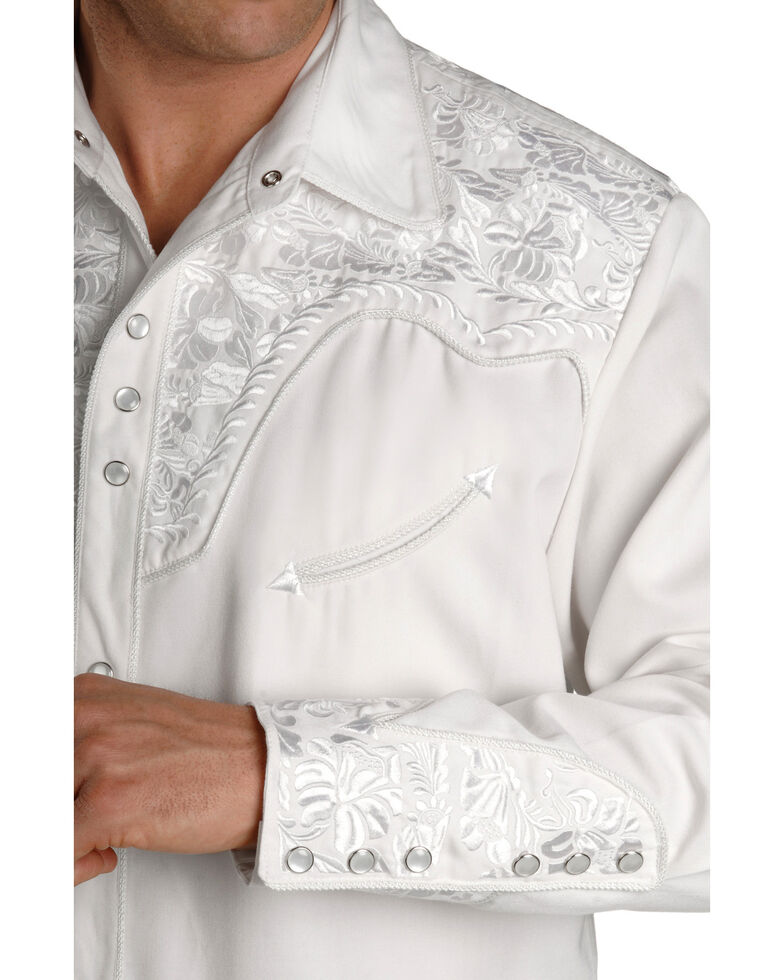 Scully Men's White Embroidered Gunfighter Long Sleeve Western Shirt, White, hi-res