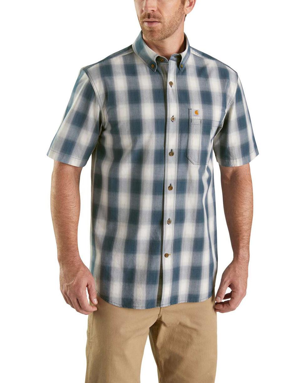 Carharrt Men's Grey Essential Plaid BDC Short Sleeve Work Shirt, Grey, hi-res