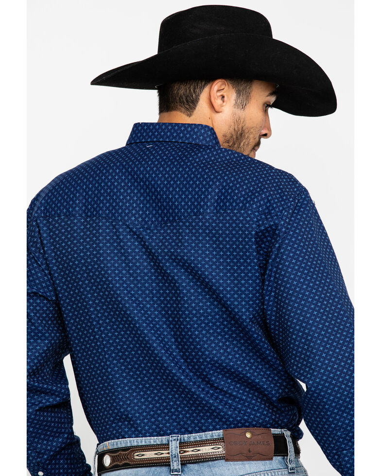 Resistol Men's Navy Weston Geo Print Long Sleeve Western Shirt , Navy, hi-res