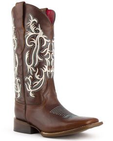Ferrini Women's Roan Western Boots - Wide Square Toe, Brown, hi-res