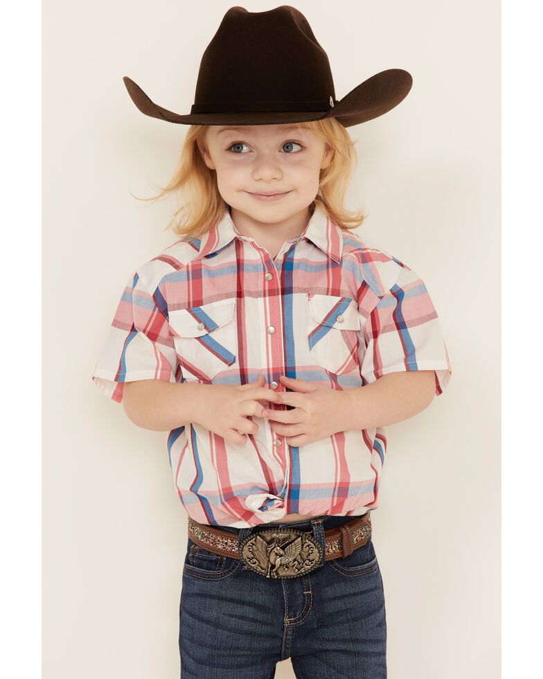 Shyanne Toddler Girls' White Plaid Short Sleeve Tie-Front Western Shirt , White, hi-res