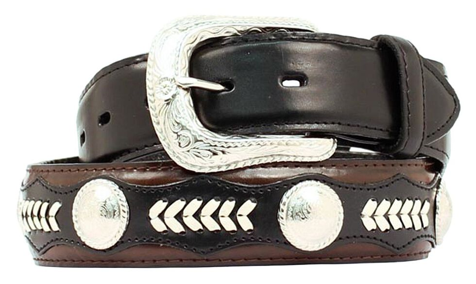 Nocona Leather Overlay & Laced Concho Belt, Black, hi-res