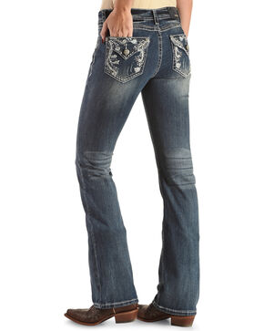 Grace in LA Women's Blue Scroll Paisley Flap Jeans - Boot Cut , Blue, hi-res